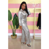 Plus Size Silver Long Sleeve One Piece Jumpsuits IV-8054