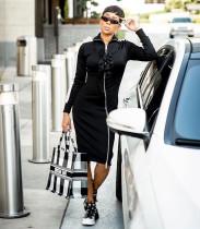Sexy Long Sleeve Ruffles Front Zipper Midi Dresses MX-878022