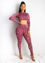 Fashion Printed Long Sleeve Crop Top Pants Bodycon Sets AWN-5055