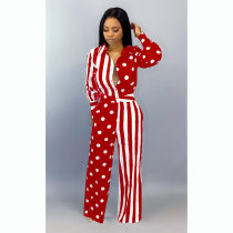 Polka Dot Striped Print Long Sleeve Jumpsuits YN-033