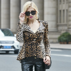 Hot Trend Leopard Print Long Sleeve Blazer Coat YM-9165