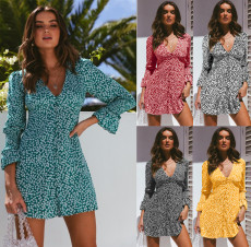 Floral Print V Neck Long Sleeve High Waist Mini Dress OSM-8014