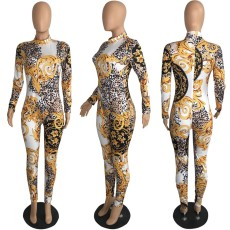 Vintage Printed Long Sleeve Bodycon Jumpsuits PIN-8433