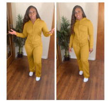 Solid Color Hooded Long Sleeve Two Piece Pants Suit GS-1157-1