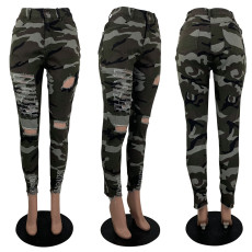 Camouflage Print Ripped Holes Jeans Denim Pencil Pants  MOY-5121