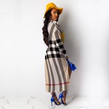 Casual Printed Patchwork Long Sleeve Irregular Maxi Dress TE-3849