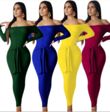Solid Slash Neck Long Sleeve Bodycon Maxi Dresses YMT-6102