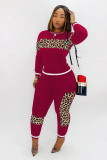 Leoaprd Print Long Sleeve Casual Two Piece Outfits CM-611