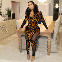 Sexy Leopard Print Patchwork See Through Skinny Jumpsuits YD-8127