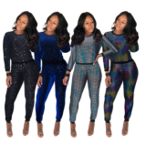 Shiny Sequin Long Sleeve Top And Pants 2 Piece Outfit MA-266