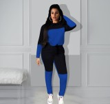 Casual Patchwork Long Sleeve Two Piece Outfits YMT-6106