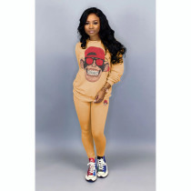 Cartoon Print Long Sleeve Casual Two Piece Outfits TR-977