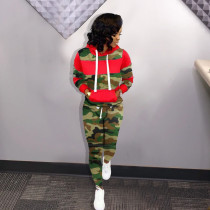 Camouflage Print Patchwork Hooded 2 Piece Sets KSN-5066