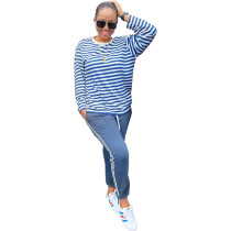 Casual Striped Long Sleeve Two Piece Pants Suit TK-6035