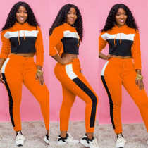 Casual Patchwork Hooded Tracksuit Two Piece Sets CM-620