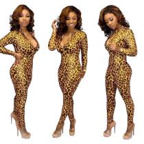 Leopard Print Long Sleeves Front Zipper Jumpsuits TK-6032