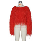 Fashion Winter Knitted Tassel Pullover Sweater Tops ZS-052