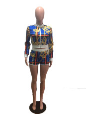 Casual Printed Jacket Top And Shorts 2 Piece Sets OM-1085
