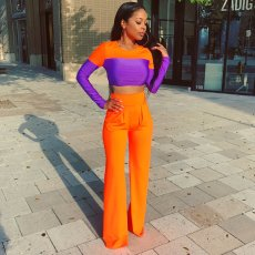 Casual Crop Top High Waist Flare Pants 2 Piece Sets CH-8069