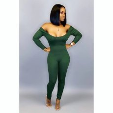 Solid Backless Long Sleeve Skinny One Piece Jumpsuit IV-8061