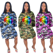 Lips Print Camouflage Long Sleeve Casual Loose Dresses TK-6037
