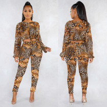 Leopard Printed Long Sleeve Two Piece Pants Sets AL-139