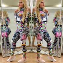 Letter Cartoon Printed Front Zipper Skinny Jumpsuits HM-6162