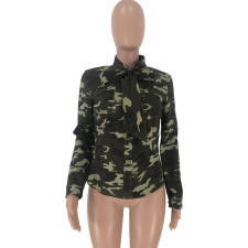 Plus Size Camouflage Print Bow Tie Blouse Shirts CQ-5280