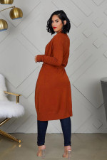 Solid Knitted Belted Loose Cardigan Coats FNN-8312
