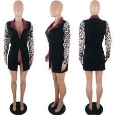 Leopard Plaid Print Patchwork Blazer Coats KSN-5076