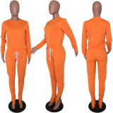 Solid Color Casual Tracksuit Two Piece Set ARM-8028-1