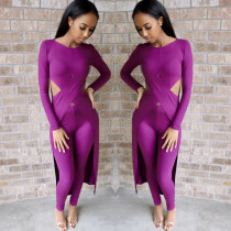 Sexy Long Top And Pants Solid Two Piece Sets MEI-9058