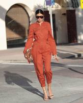 Solid Color Zipper Long Sleeve One Piece Jumpsuits MEM-8239