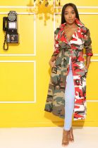 Camouflage Print Lapel Maxi Trench Coats ARM-8137