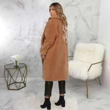 Winter Lapel Thick Warm Long Teddy Faux Fur Coat SMR-9434