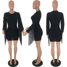 Black Tassel Long Sleeves Sexy Bodycon Dress AWN-5071