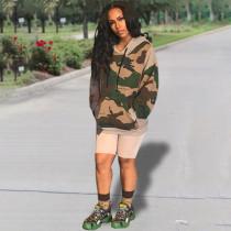 Camouflage Print Casual Loose Sweatshirt Hoodies YH-5111