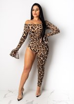 Leopard Print Sexy Slash Nerck Asymmetry Jumpsuits PIN-8457