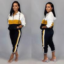 Contrast Color Hooded Tracksuit 2 Piece Suits TR-987
