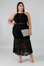 Plus Size 5XL Sexy Stappy Backless Lace Long Dress OSM-4080