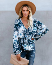 Floral Printed V Neck Long Sleeve Blouse Tops MA-271