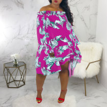 Sexy Slash Neck Long Sleeves Floral Printed Dresses SMR-9424