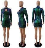 Golden Long Sleeve Sequin Dresses LSL-6044