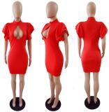 Ruffle Sleeve Black Bodycon Dress LSL-6051