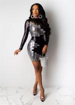 Sexy Sequin Long Sleeve Mini Bodycon Dresses IK-071