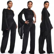 Solid Flare Sleeve Corduroy One Piece Jumpsuits MDF-5098