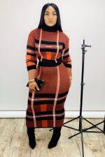 Plus Size Plaid Print High Collar Long Skirt 2 Piece Sets YS-8399