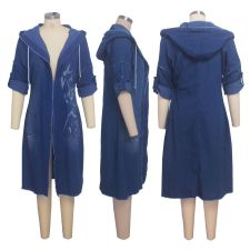 Casual Hooded Full Sleeve Denim Long Coats SMR-9421