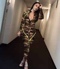 Camouflage Print Zipper Skinny One Piece Jumpsuits YD-8136