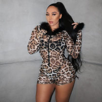 Sexy Leopard Print Long Seeve Bodycon Rompers YF-9537